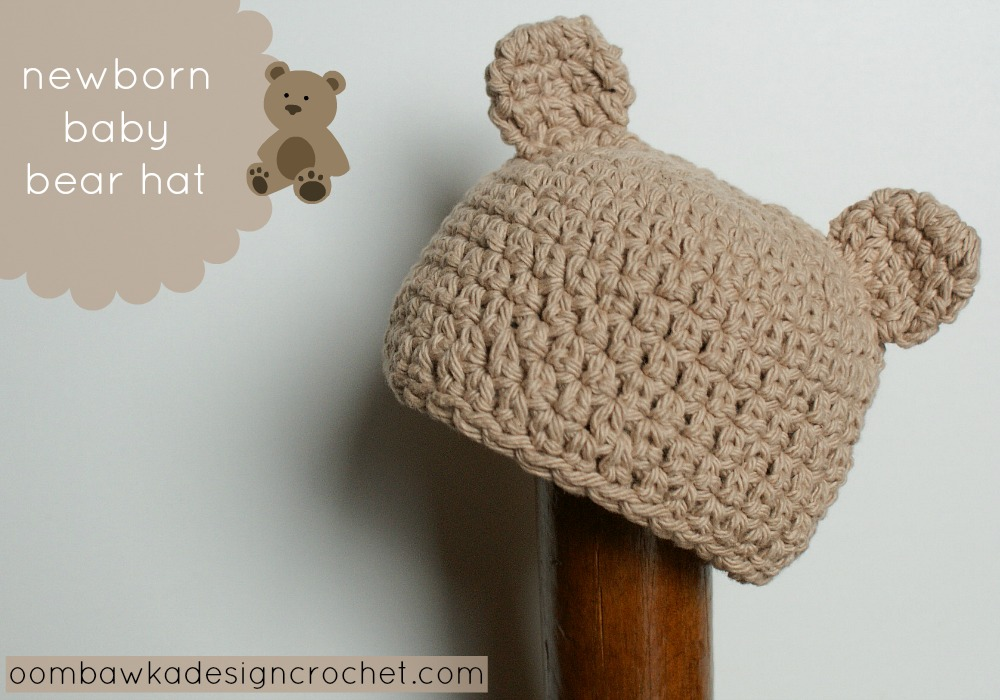 fd3dbd3db Gorro de crochet de oso para recién nacidos